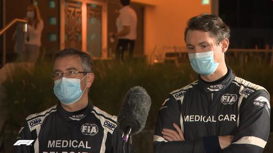 FIAメディカル・カーチームのイアン・ロバーツ博士とアラン・ファン・デル・メルヴェ:2020年F1バーレーンGP