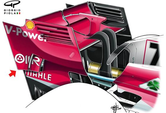 フェラーリSF71H:シンガポール仕様のウィング詳細。マクラーレンに似た通気孔(赤矢印)。