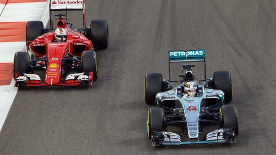ルイス・ハミルトン(メルセデス)、セバスチャン・ベッテル(フェラーリ)、2015年F1