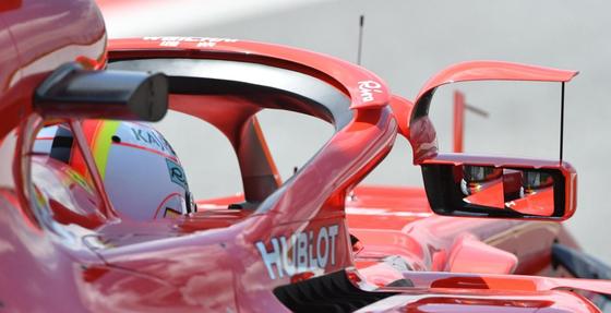 フェラーリSF71H:ハロー取りつけミラー(2018年F1スペインGP)