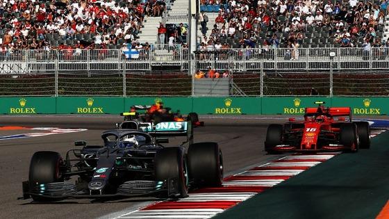 ヴァルテリ・ボタス(メルセデス)、シャルル・ルクレール(フェラーリ)、マックス・フェルスタッペン(レッドブル・ホンダ):2019年F1ロシアGP