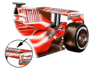 フェラーリF2008:モンツァ仕様のリア・ウィング