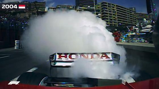 佐藤琢磨、エンジンブローで白煙を上げでストップ:2004年F1モナコGP