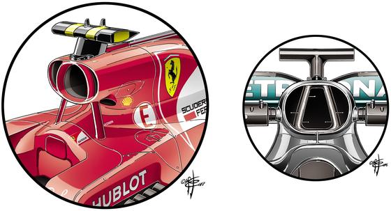 フェラーリSF70H:耳つきエアボックス - 2017年F1日本GP