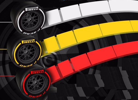 2019年F1のタイヤは3色(白、黄色、赤)