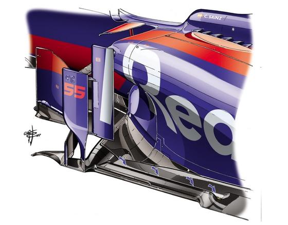 トロ・ロッソSTR12:フロアのフロント・セクションに縦方向の切れ目