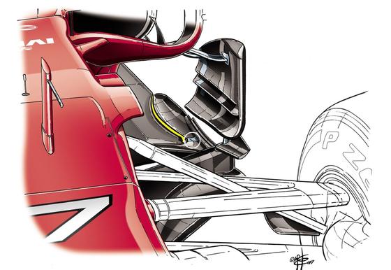 フェラーリSF70H:フロアの縦方向の切れ目に金属部品で補強