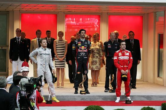 2012年F1モナコGP表彰式: ロズベルグ、ウェバー、アロンソ