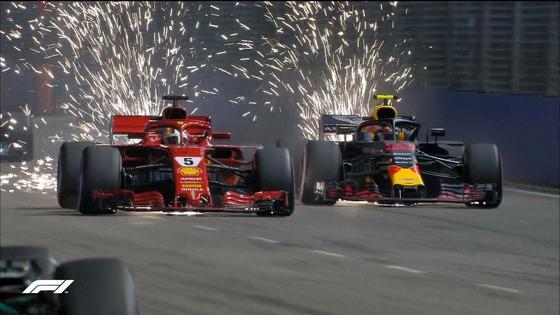 ベッテル、フェルスタッペンをオーバーテイク:2018年F1シンガポールGP