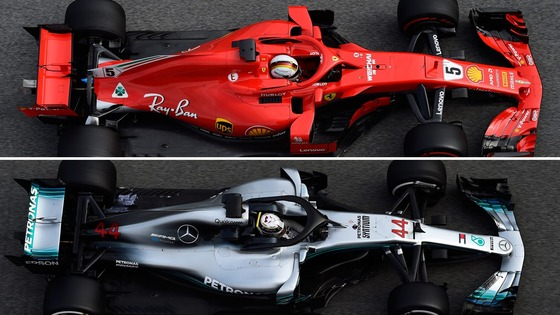 フェラーリSF71HとメルセデスF1 W09のホイールベース比較図