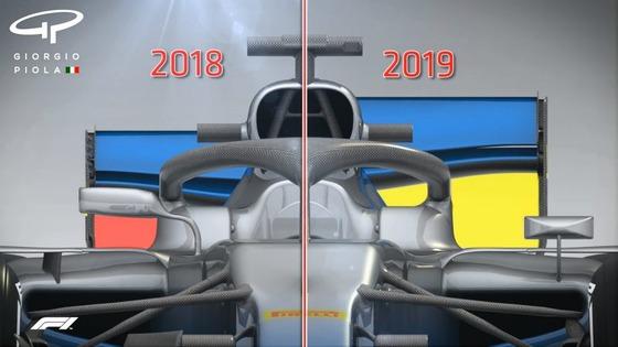 F1マシンのリア・ウィング:2018年と2019年の違い