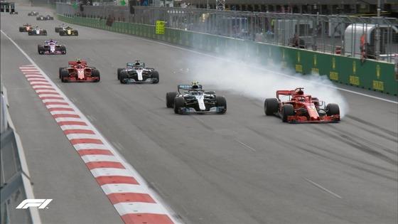 ベッテル、ボタスを抜こうとしてロックアップ、2位から4位に:2018年F1アゼルバイジャンGP