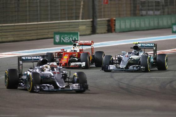 ルイス・ハミルトン、ニコ・ロズベルグ、セバスチャン・ベッテル、2016年F1アブダビGP
