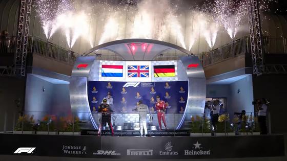 シャンパン・ファイトを楽しみハミルトン、フェルスタッペン、ベッテル:2018年F1シンガポールGP