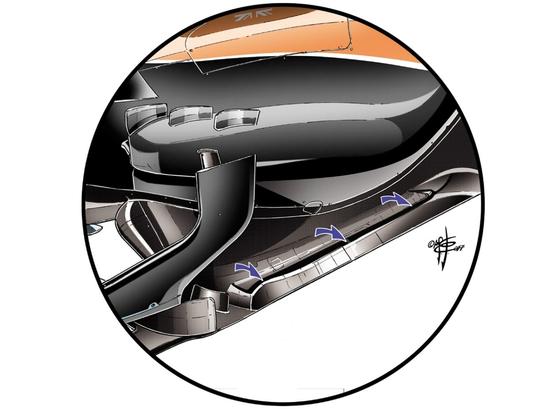 マクラーレン・ホンダMCL32:フロアのフロント・セクションに縦方向の切れ目