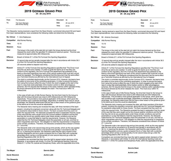 アルファロメオの2台、30秒加算ペナルティで得点圏外に:2019年F1ドイツGP