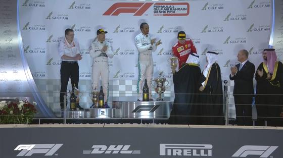 ボタス、ハミルトン、ルクレール:2019年F1バーレーンGP表彰式