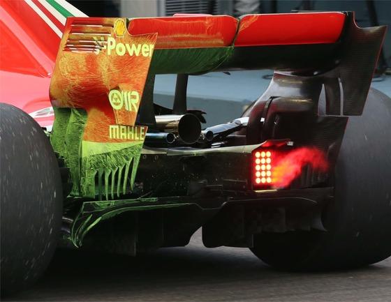 フェラーリSF71Hのリア・ウィング・エンドプレートに使われたフロービズ