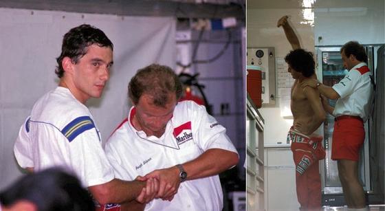 アイルトン・セナとアラン・プロストにセラピーを行うヨーゼフ・レベラー(理学療法士兼栄養士): マクラーレン・ホンダ