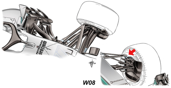 メルセデスF1 W08:フロント・サスペンション