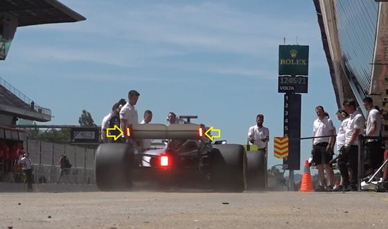 F1マシンのリア・ウィングのエンドプレート・ライト