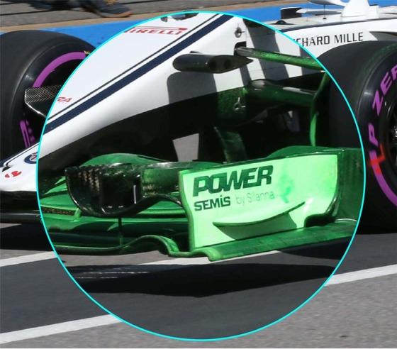 2018年カナダGPでザウバーC37のフロント・ウィングに塗られたフロービズ