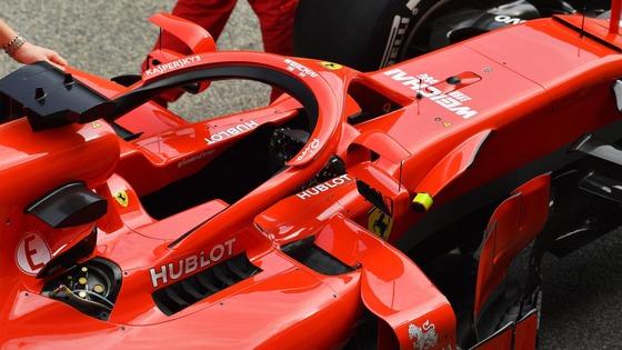 フェラーリSF71H:ハロー取りつけミラー