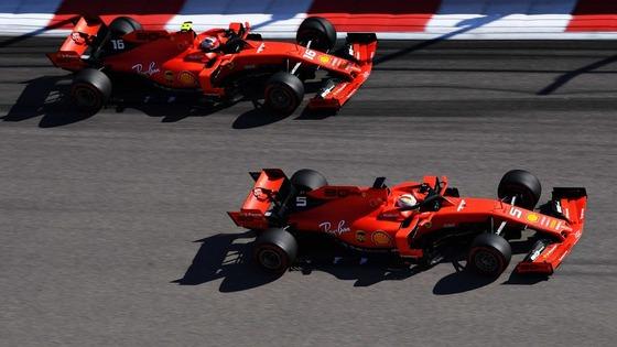 セバスチャン・ベッテルとシャルル・ルクレール(フェラーリ):2019年F1ロシアGP