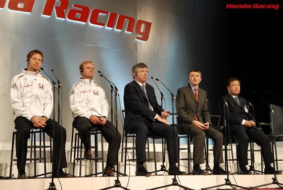 ジェンソン・バトン、ルーベンス・バリチェロ、ロス・ブラウン、ニック・フライ、中本修平:ホンダ、2008年モータースポーツ活動概要発表