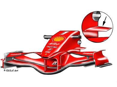 フェラーリF2008:サイドノーズのウィングレット