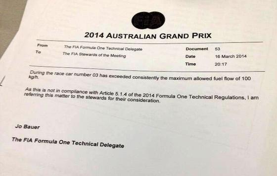 レッドブル、規約違反: FIA公式プレスリリース-2014年F1オーストラリアGP