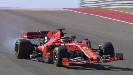 セバスチャン・ベッテル、バンプでリアサスが壊れる:2019年F1アメリカGP