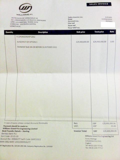 ウィリアムズからPDVSA(国営ベネズエラ石油)宛ての請求書