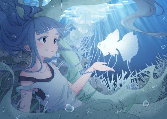 【2次】水中に潜っている可愛い女の子の涼しげな二次画像 その3【非エロ】