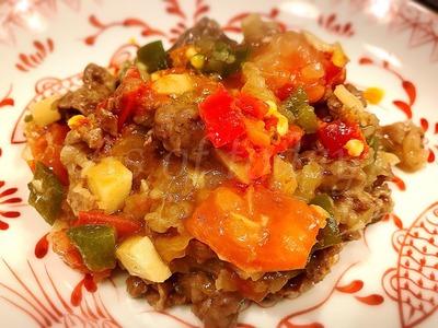 牛肉とトマトのピリ辛サルサソース