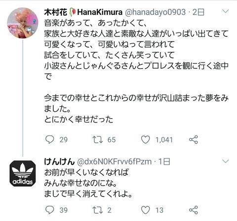 誹謗 アカウント 中傷 花 木村