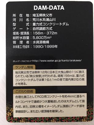 浦山ダムカード(天皇陛下御在位三十周年記念)裏