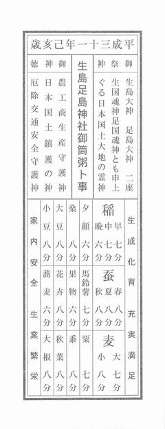 平成三十一年己亥歳_生島足島神社御筒粥卜事w480