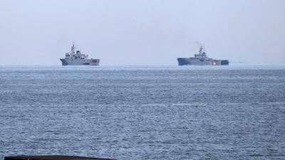 訓練中の掃海艦隊