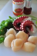 ホタテ貝柱とタコのアジアンマリネ-材料