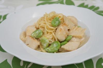 Recipe13:ホタテとソラマメと竹の子のクリームパスタ
