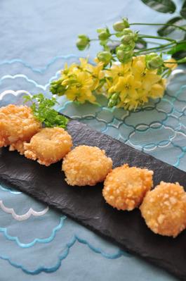 Recipe73:帆立貝柱のサラダせんべい揚げ