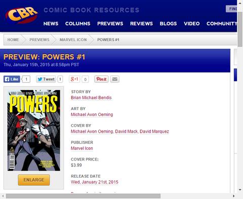 新たにオンゴーイングシリーズが開始!パワーズ #1のプレビュー画像が更新!