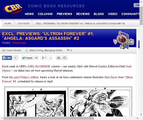 アクセル-イン-チャージからの「ウルトロン・フォーエバー#1」、「アンジェラ:アスガーズ・アサシン #2」のプレビュー画像!