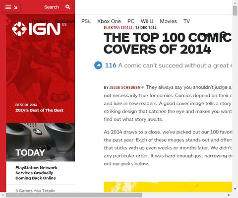 IGNによる2014年コミックブックカバートップ100!