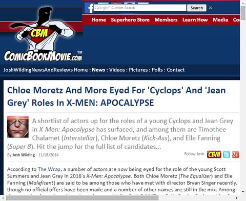 クロエ・モレッツとより多くは『X-MEN:アポカリプス』での「サイクロプス」と「ジーン・グレイ」の役のために見る!
