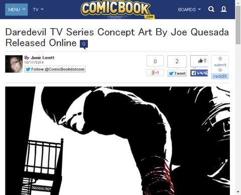 【NYCC】ドラマ「デアデビル」のジョー・ケセイダによるコンセプトアートが公開!