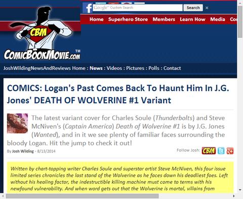 デス・オブ・ウルヴァリン #1のヴァリアントカバーがさらに判明!