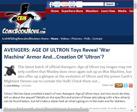 映画「アベンジャーズ:エイジ・オブ・ウルトロン」の関連おもちゃに『ウォーマシン』が!映画にも登場するかも!?
