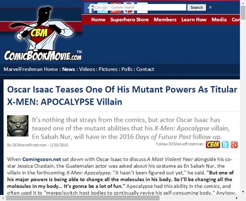 オスカー・アイザックが彼が演じる「アポカリプス」のコスチュームについて言及!